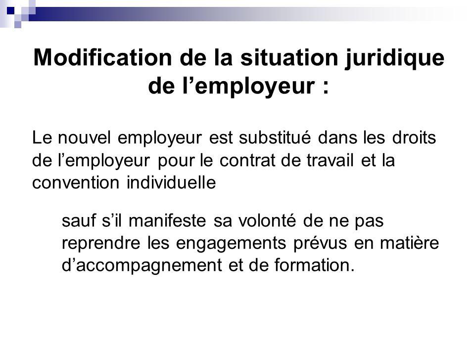 Modification de la situation juridique de lemployeur : Le nouvel employeur est substitué dans les droits de lemployeur pour le contrat de travail et l
