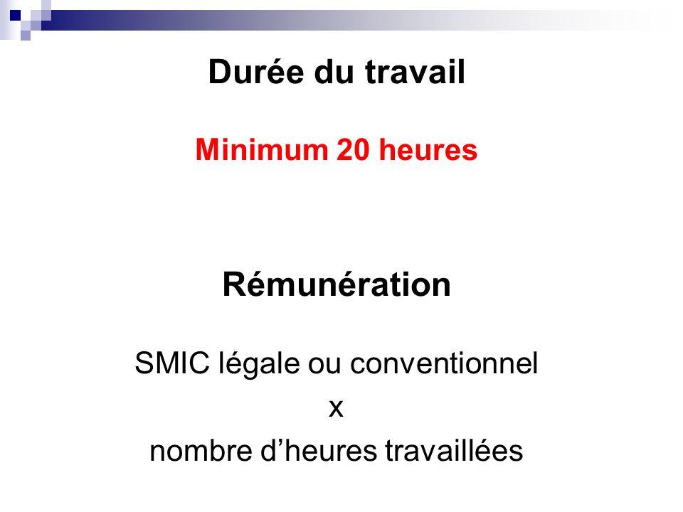 Durée du travail Minimum 20 heures Rémunération SMIC légale ou conventionnel x nombre dheures travaillées