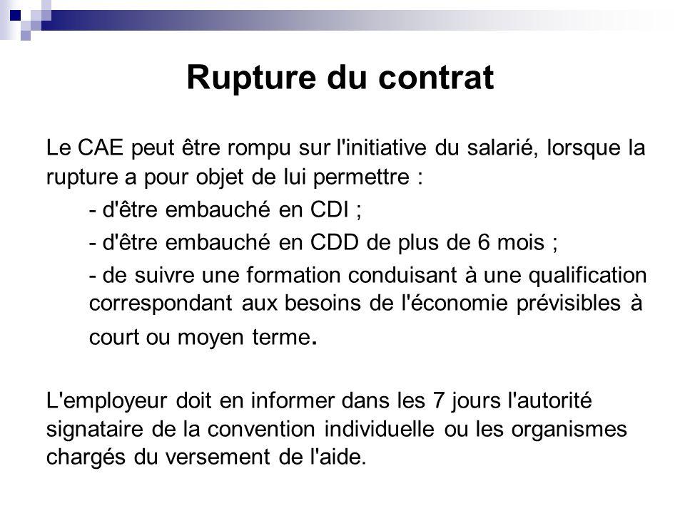 Rupture du contrat Le CAE peut être rompu sur l'initiative du salarié, lorsque la rupture a pour objet de lui permettre : - d'être embauché en CDI ; -
