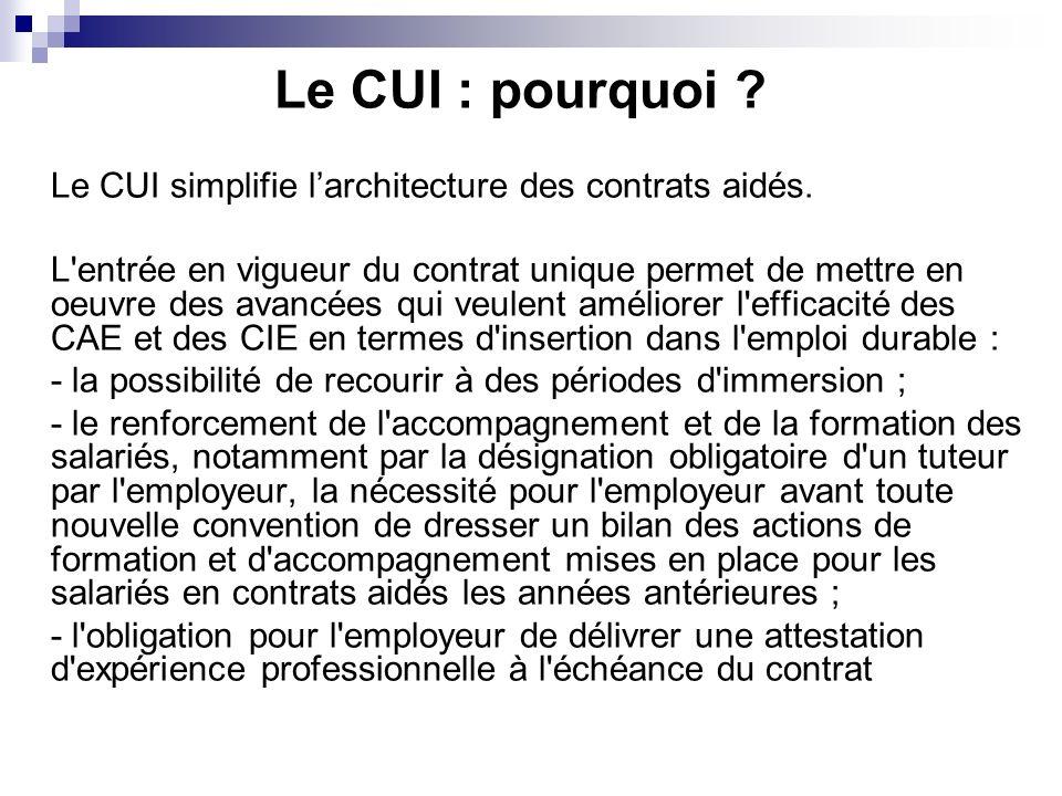 Le CUI : pourquoi ? Le CUI simplifie larchitecture des contrats aidés. L'entrée en vigueur du contrat unique permet de mettre en oeuvre des avancées q
