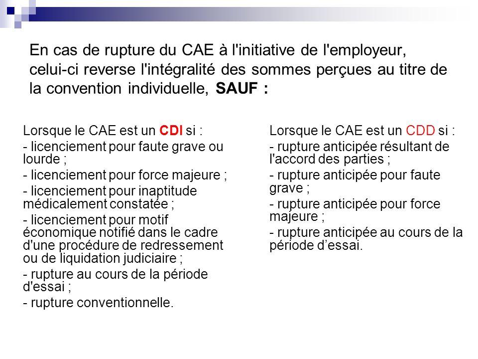En cas de rupture du CAE à l'initiative de l'employeur, celui-ci reverse l'intégralité des sommes perçues au titre de la convention individuelle, SAUF