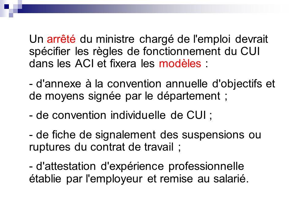 Un arrêté du ministre chargé de l'emploi devrait spécifier les règles de fonctionnement du CUI dans les ACI et fixera les modèles : - d'annexe à la co