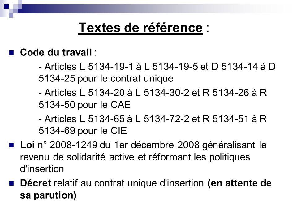 Textes de référence : Code du travail : - Articles L 5134-19-1 à L 5134-19-5 et D 5134-14 à D 5134-25 pour le contrat unique - Articles L 5134-20 à L