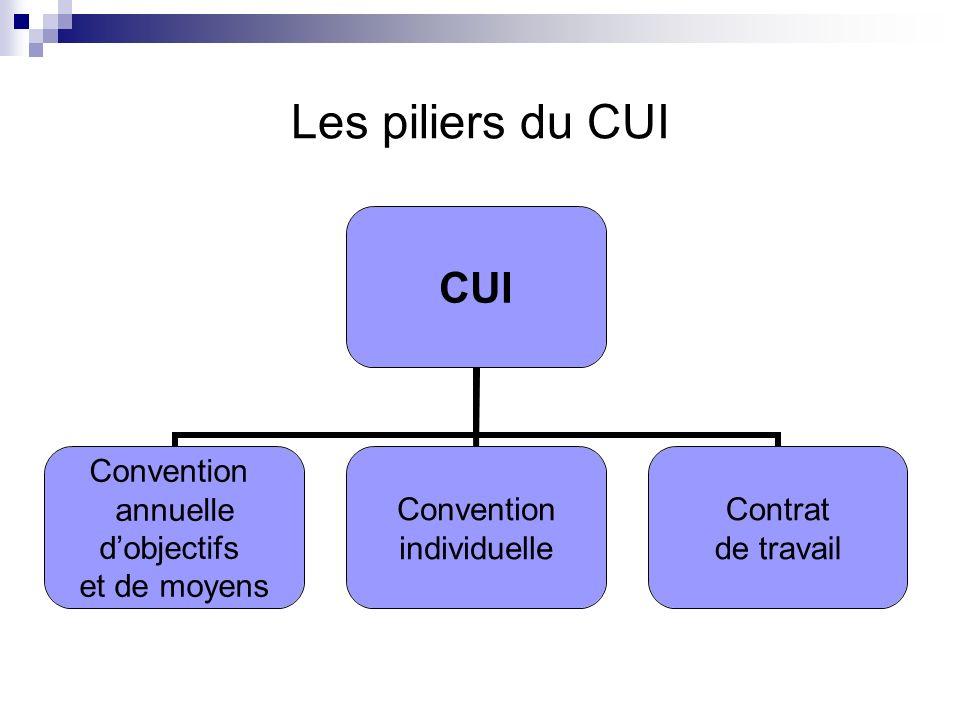 Les piliers du CUI CUI Convention annuelle dobjectifs et de moyens Convention individuelle Contrat de travail