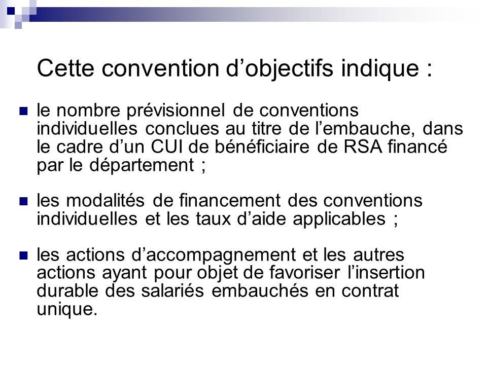 Cette convention dobjectifs indique : le nombre prévisionnel de conventions individuelles conclues au titre de lembauche, dans le cadre dun CUI de bén