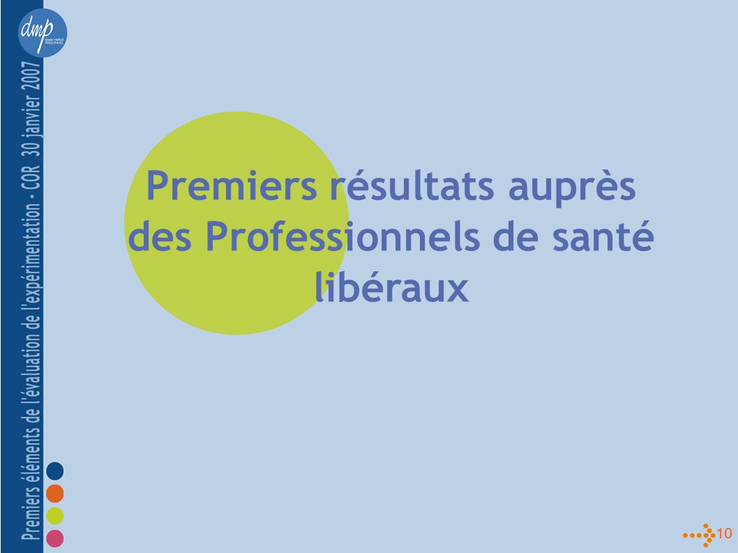 10 Premiers résultats auprès des Professionnels de santé libéraux