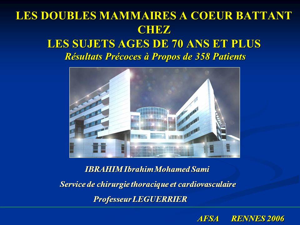 LES DOUBLES MAMMAIRES A COEUR BATTANT CHEZ LES SUJETS AGES DE 70 ANS ET PLUS Résultats Précoces à Propos de 358 Patients AFSA RENNES 2006 AFSA RENNES