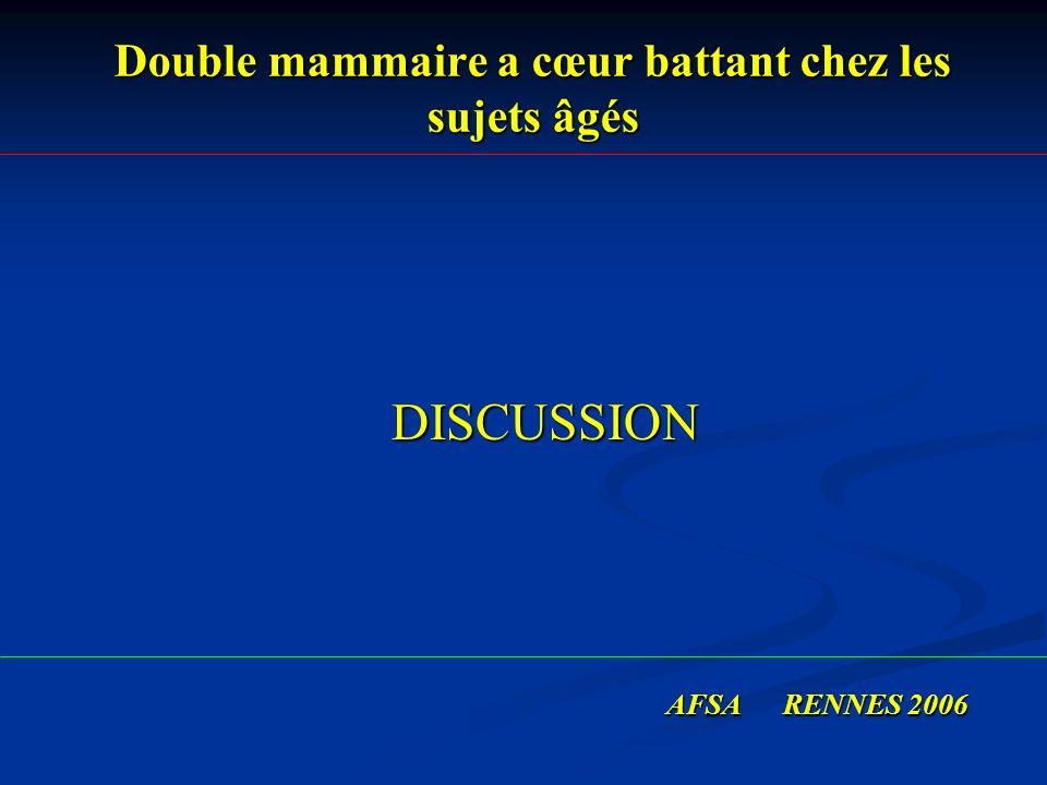 Double mammaire a cœur battant chez les sujets âgés DISCUSSION DISCUSSION AFSA RENNES 2006