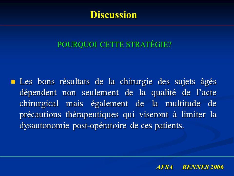 Discussion Discussion POURQUOI CETTE STRATÉGIE? POURQUOI CETTE STRATÉGIE? Les bons résultats de la chirurgie des sujets âgés dépendent non seulement d