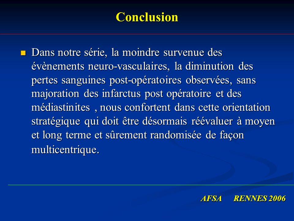 Conclusion Dans notre série, la moindre survenue des évènements neuro-vasculaires, la diminution des pertes sanguines post-opératoires observées, sans