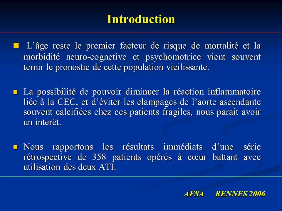 Introduction Lâge reste le premier facteur de risque de mortalité et la morbidité neuro-cognetive et psychomotrice vient souvent ternir le pronostic d