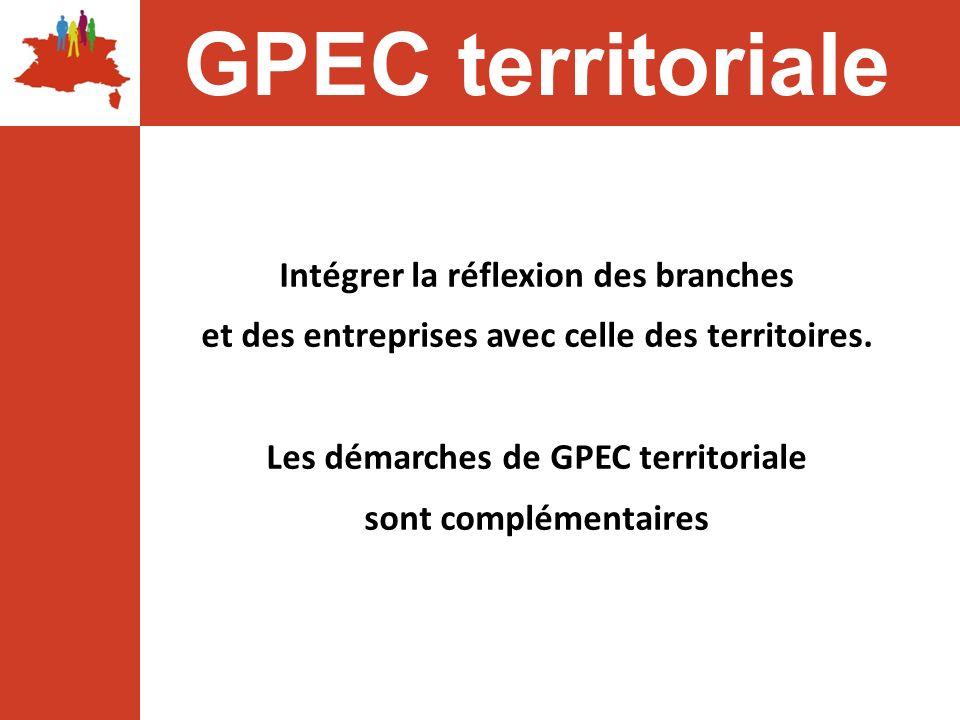 Intégrer la réflexion des branches et des entreprises avec celle des territoires. Les démarches de GPEC territoriale sont complémentaires GPEC territo