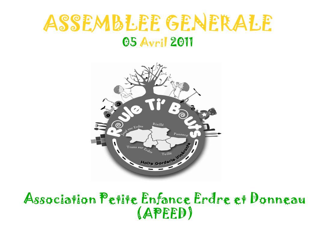 ASSEMBLEE GENERALE 05 Avril 2011 Association Petite Enfance Erdre et Donneau (APEED)