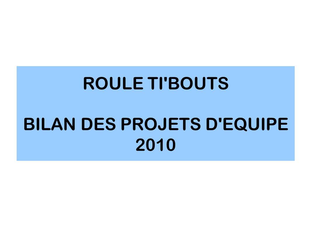 ROULE TI'BOUTS BILAN DES PROJETS D'EQUIPE 2010