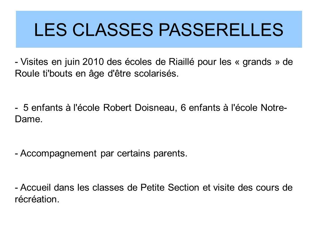 LES CLASSES PASSERELLES - Visites en juin 2010 des écoles de Riaillé pour les « grands » de Roule ti'bouts en âge d'être scolarisés. - 5 enfants à l'é