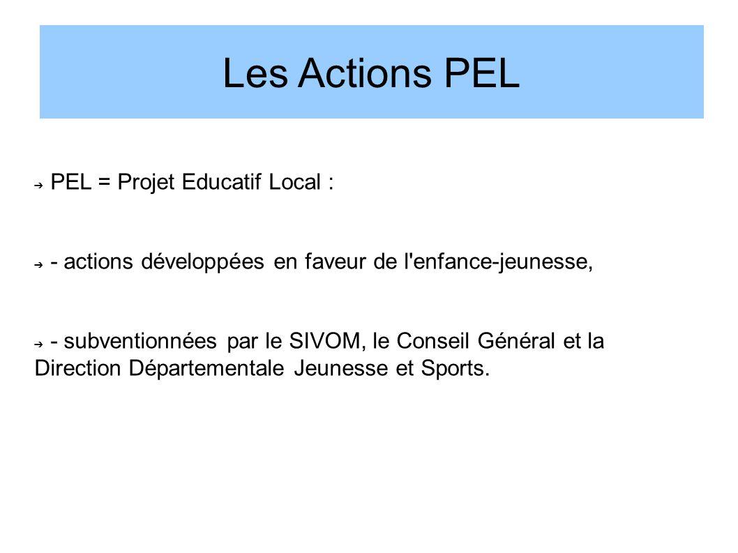 Les Actions PEL PEL = Projet Educatif Local : - actions développées en faveur de l'enfance-jeunesse, - subventionnées par le SIVOM, le Conseil Général