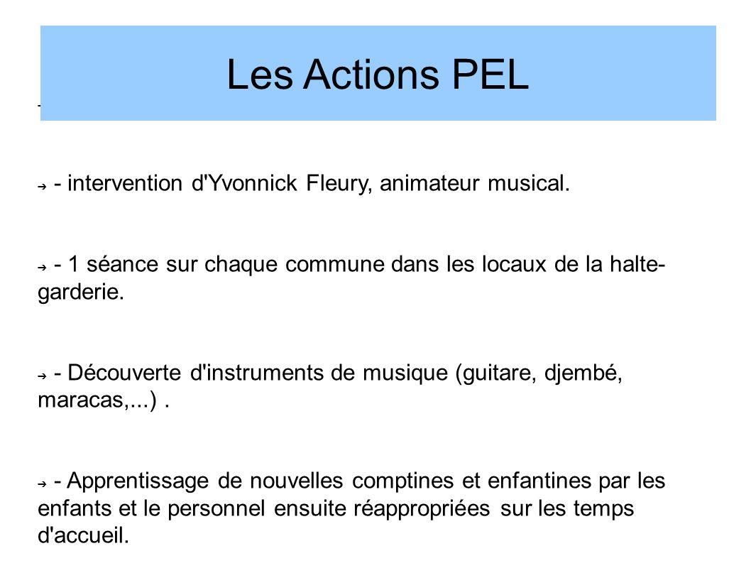 Eveil musical à Roule ti'bouts : - intervention d'Yvonnick Fleury, animateur musical. - 1 séance sur chaque commune dans les locaux de la halte- garde