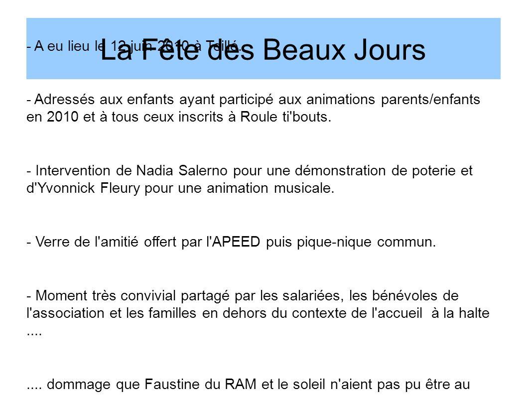 La Fête des Beaux Jours - A eu lieu le 12 juin 2010 à Teillé. - Adressés aux enfants ayant participé aux animations parents/enfants en 2010 et à tous