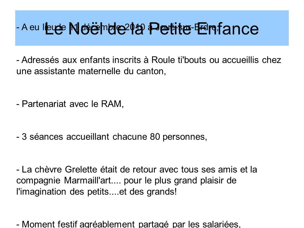 Le Noël de la Petite Enfance - A eu lieu le 11 décembre 2010 à Joué-sur-Erdre, - Adressés aux enfants inscrits à Roule ti'bouts ou accueillis chez une