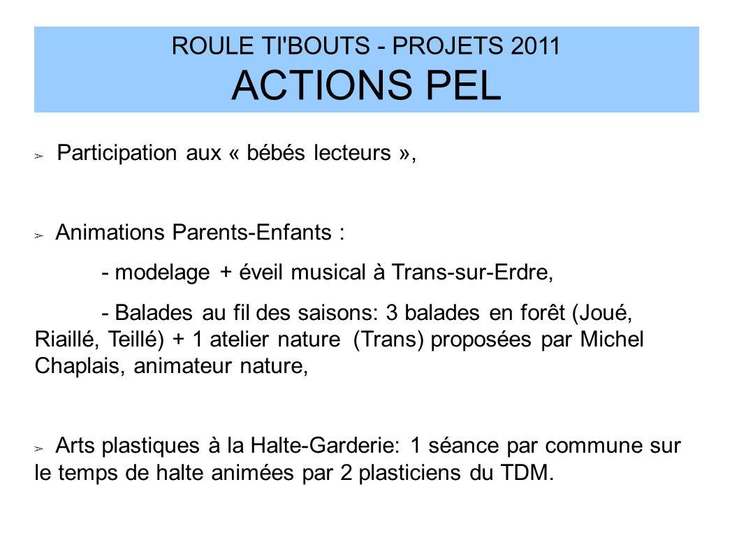 ROULE TI'BOUTS - PROJETS 2011 ACTIONS PEL Participation aux « bébés lecteurs », Animations Parents-Enfants : - modelage + éveil musical à Trans-sur-Er