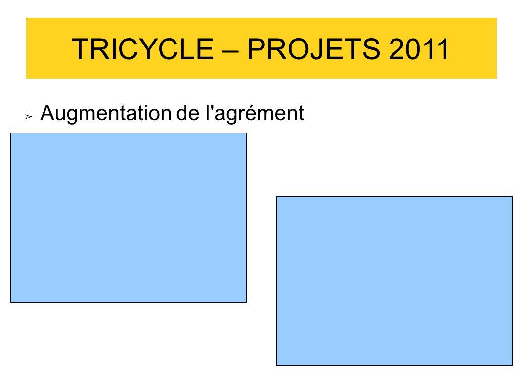 TRICYCLE – PROJETS 2011 Augmentation de l'agrément