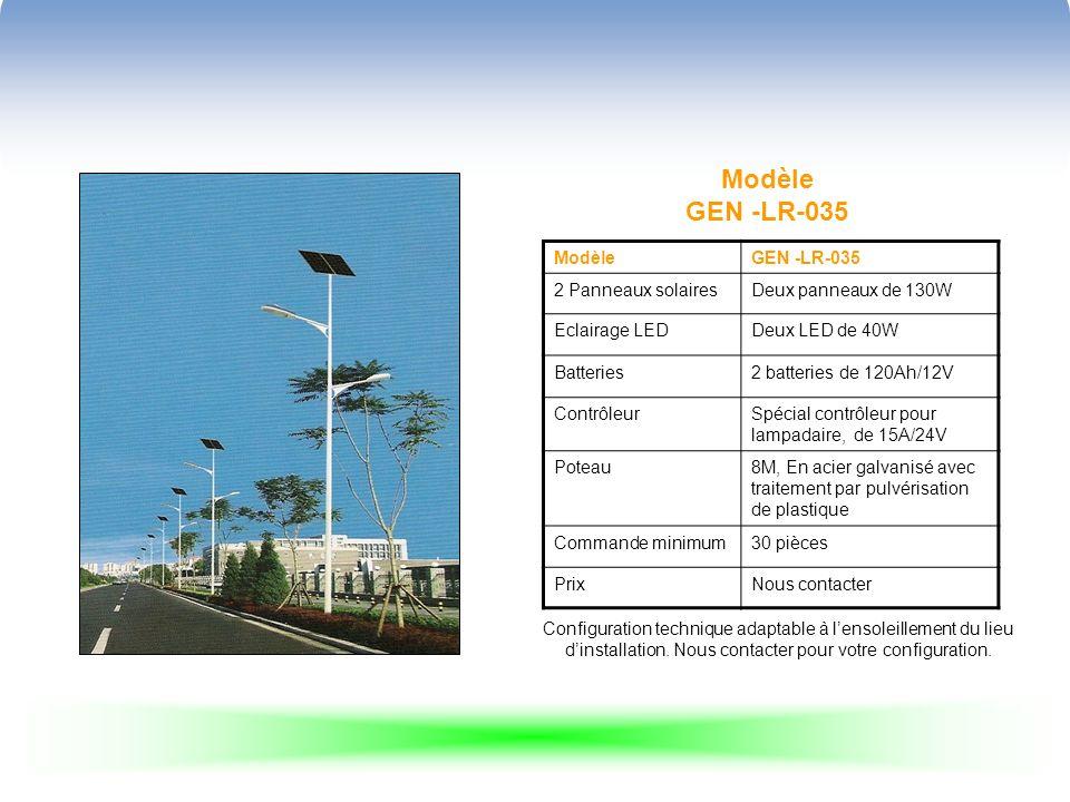 Modèle GEN -LR-035 ModèleGEN -LR-035 2 Panneaux solairesDeux panneaux de 130W Eclairage LEDDeux LED de 40W Batteries2 batteries de 120Ah/12V ContrôleurSpécial contrôleur pour lampadaire, de 15A/24V Poteau8M, En acier galvanisé avec traitement par pulvérisation de plastique Commande minimum30 pièces PrixNous contacter Configuration technique adaptable à lensoleillement du lieu dinstallation.