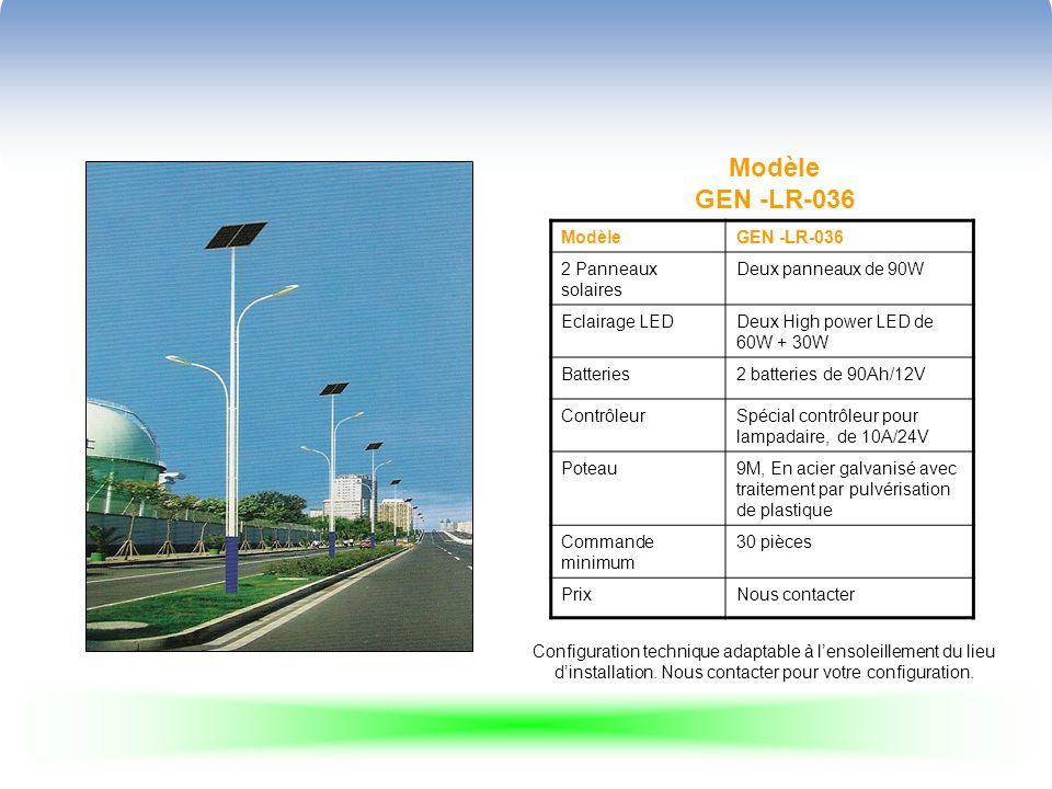 Modèle GEN -LR-036 ModèleGEN -LR-036 2 Panneaux solaires Deux panneaux de 90W Eclairage LEDDeux High power LED de 60W + 30W Batteries2 batteries de 90Ah/12V ContrôleurSpécial contrôleur pour lampadaire, de 10A/24V Poteau9M, En acier galvanisé avec traitement par pulvérisation de plastique Commande minimum 30 pièces PrixNous contacter Configuration technique adaptable à lensoleillement du lieu dinstallation.