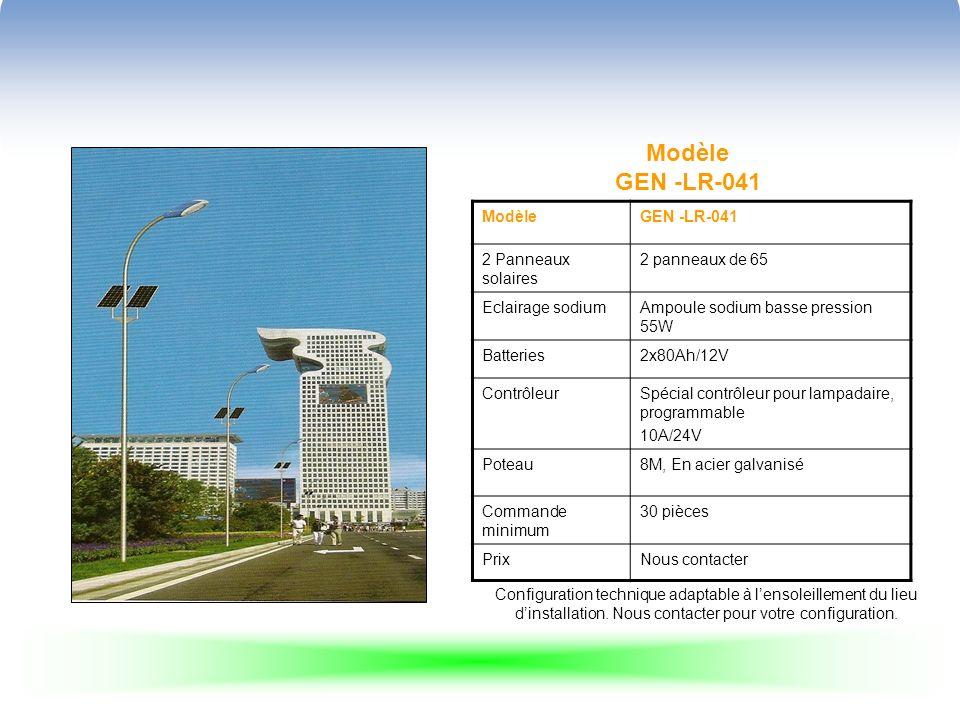 Modèle GEN -LR-041 ModèleGEN -LR-041 2 Panneaux solaires 2 panneaux de 65 Eclairage sodiumAmpoule sodium basse pression 55W Batteries2x80Ah/12V ContrôleurSpécial contrôleur pour lampadaire, programmable 10A/24V Poteau8M, En acier galvanisé Commande minimum 30 pièces PrixNous contacter Configuration technique adaptable à lensoleillement du lieu dinstallation.