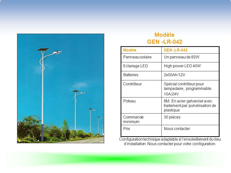 Modèle GEN -LR-042 ModèleGEN -LR-042 Panneau solaireUn panneau de 85W Eclairage LEDHigh power LED 40W Batteries2x50Ah/12V ContrôleurSpécial contrôleur
