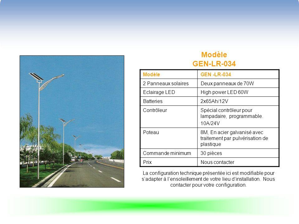 Modèle GEN-LR-034 ModèleGEN -LR-034 2 Panneaux solairesDeux panneaux de 70W Eclairage LEDHigh power LED 60W Batteries2x65Ah/12V ContrôleurSpécial contrôleur pour lampadaire, programmable.