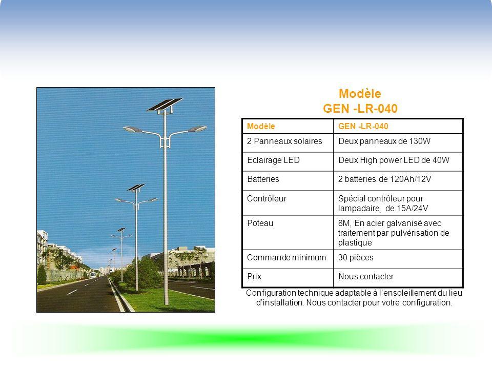 Modèle GEN -LR-043 ModèleGEN -LR-043 2 Panneaux solaires 2 panneaux de 65 EclairageLED ou sodium basse pression 55W Batteries2x80Ah/12V ContrôleurSpécial contrôleur pour lampadaire, programmable 10A/24V Poteau8M, En acier galvanisé avec traitement par pulvérisation de plastique Commande minimum 30 pièces PrixNous contacter Configuration technique adaptable à lensoleillement du lieu dinstallation.