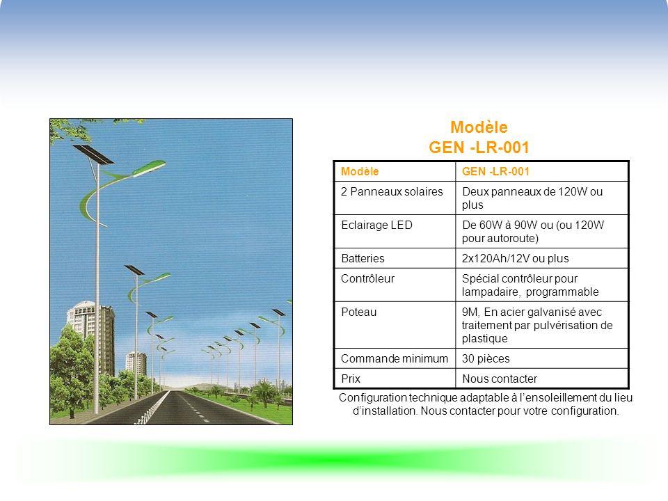 Modèle GEN -LR-001 ModèleGEN -LR-001 2 Panneaux solairesDeux panneaux de 120W ou plus Eclairage LEDDe 60W à 90W ou (ou 120W pour autoroute) Batteries2x120Ah/12V ou plus ContrôleurSpécial contrôleur pour lampadaire, programmable Poteau9M, En acier galvanisé avec traitement par pulvérisation de plastique Commande minimum30 pièces PrixNous contacter Configuration technique adaptable à lensoleillement du lieu dinstallation.