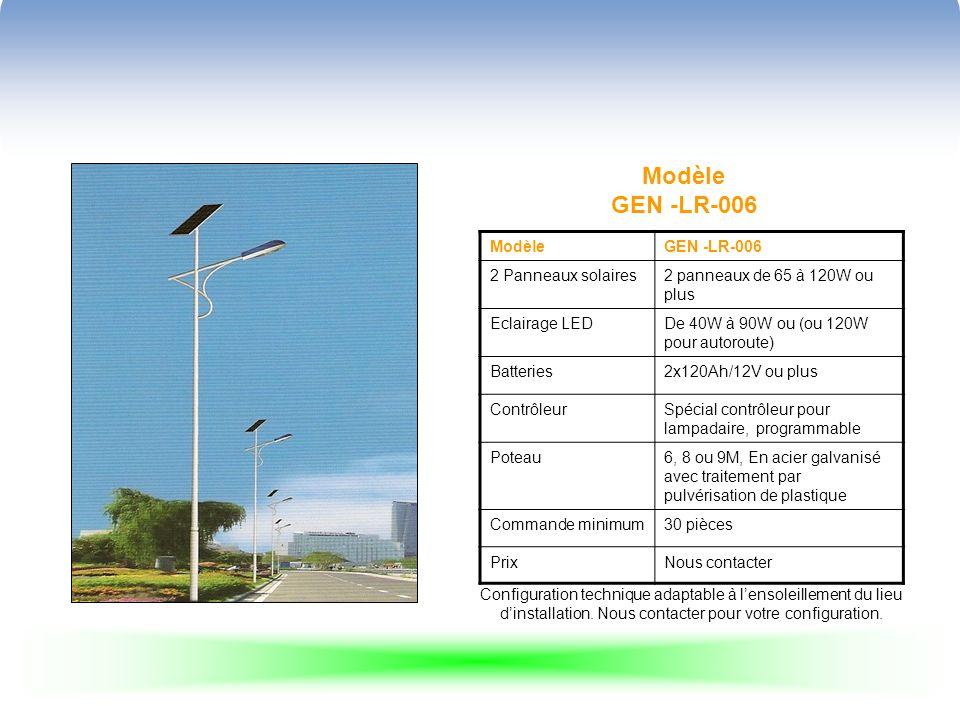 Modèle GEN -LR-006 ModèleGEN -LR-006 2 Panneaux solaires2 panneaux de 65 à 120W ou plus Eclairage LEDDe 40W à 90W ou (ou 120W pour autoroute) Batteries2x120Ah/12V ou plus ContrôleurSpécial contrôleur pour lampadaire, programmable Poteau6, 8 ou 9M, En acier galvanisé avec traitement par pulvérisation de plastique Commande minimum30 pièces PrixNous contacter Configuration technique adaptable à lensoleillement du lieu dinstallation.