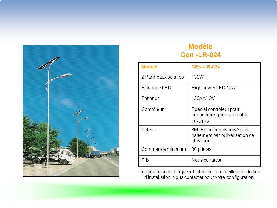 Modèle Gen -LR-024 ModèleGEN -LR-024 2 Panneaux solaires130W Eclairage LEDHigh power LED 40W Batteries120Ah/12V ContrôleurSpécial contrôleur pour lampadaire, programmable.