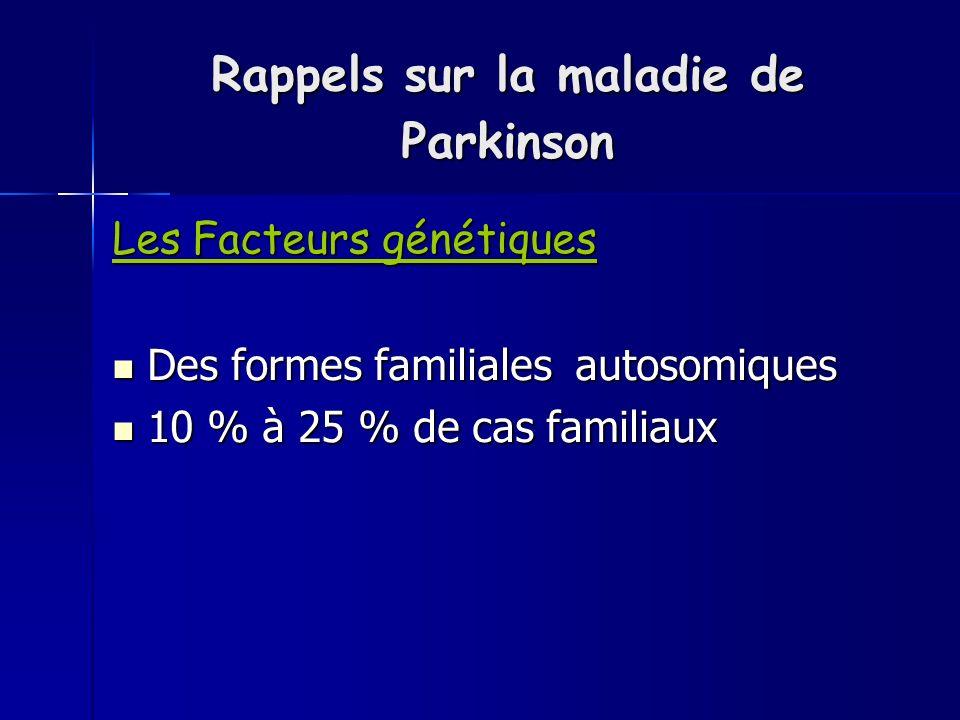 Rappels sur la maladie de Parkinson Les Facteurs génétiques Des formes familiales autosomiques Des formes familiales autosomiques 10 % à 25 % de cas familiaux 10 % à 25 % de cas familiaux