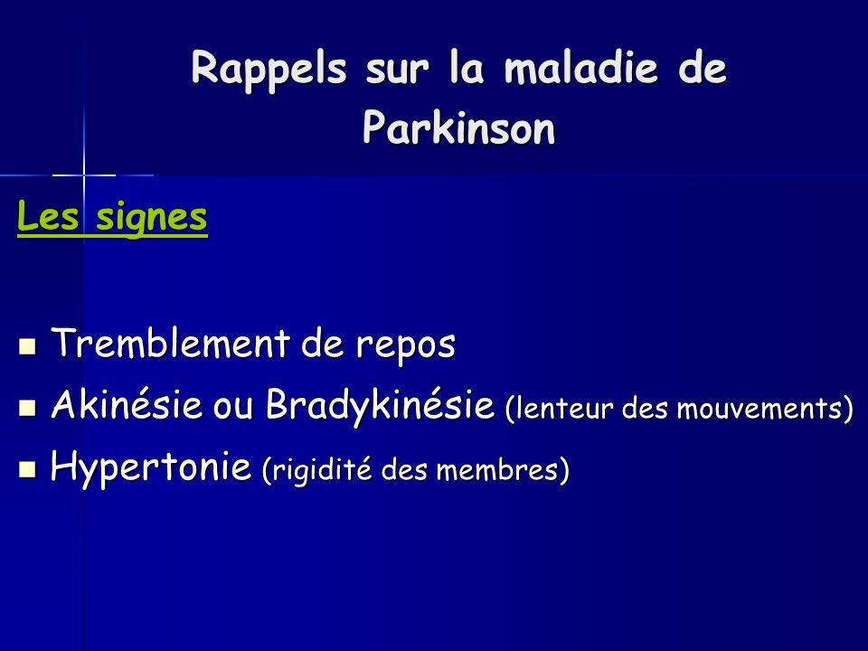 Rappels sur la maladie de Parkinson Les signes Tremblement de repos Tremblement de repos Akinésie ou Bradykinésie (lenteur des mouvements) Akinésie ou Bradykinésie (lenteur des mouvements) Hypertonie (rigidité des membres) Hypertonie (rigidité des membres)