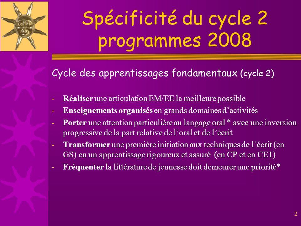 2 Spécificité du cycle 2 programmes 2008 Cycle des apprentissages fondamentaux (cycle 2) - Réaliser une articulation EM/EE la meilleure possible - Ens