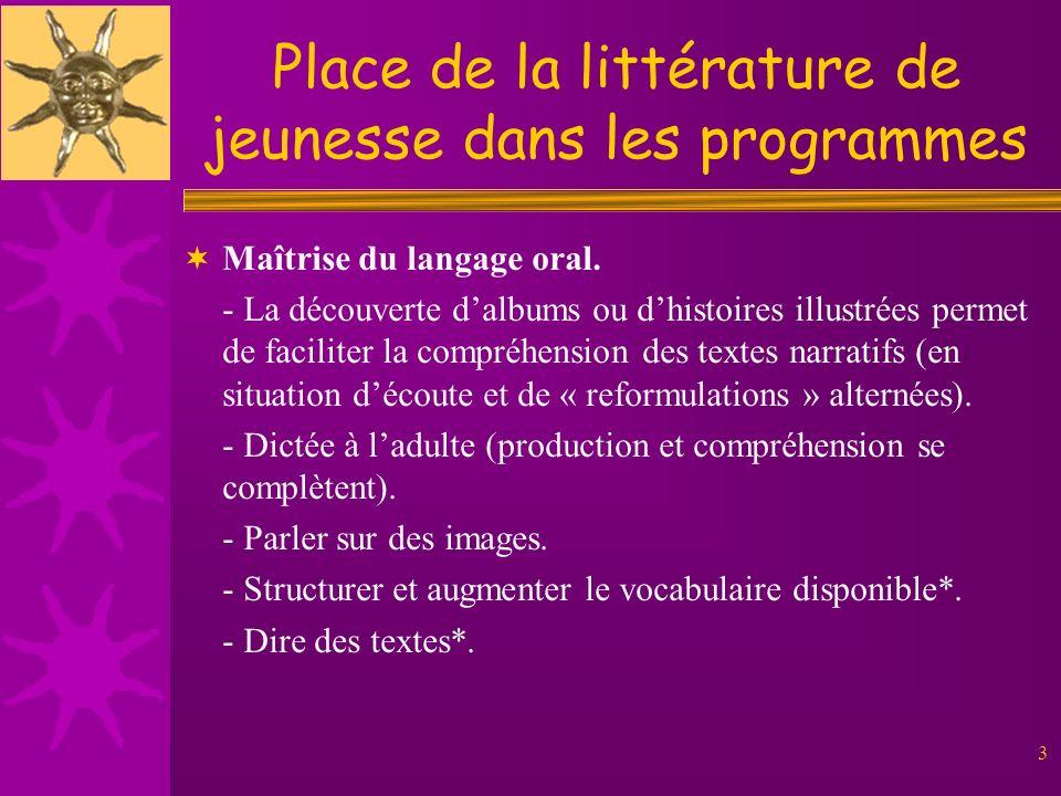 3 Place de la littérature de jeunesse dans les programmes Maîtrise du langage oral. - La découverte dalbums ou dhistoires illustrées permet de facilit
