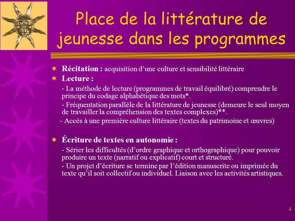 4 Place de la littérature de jeunesse dans les programmes Récitation : acquisition dune culture et sensibilité littéraire Lecture : - La méthode de le