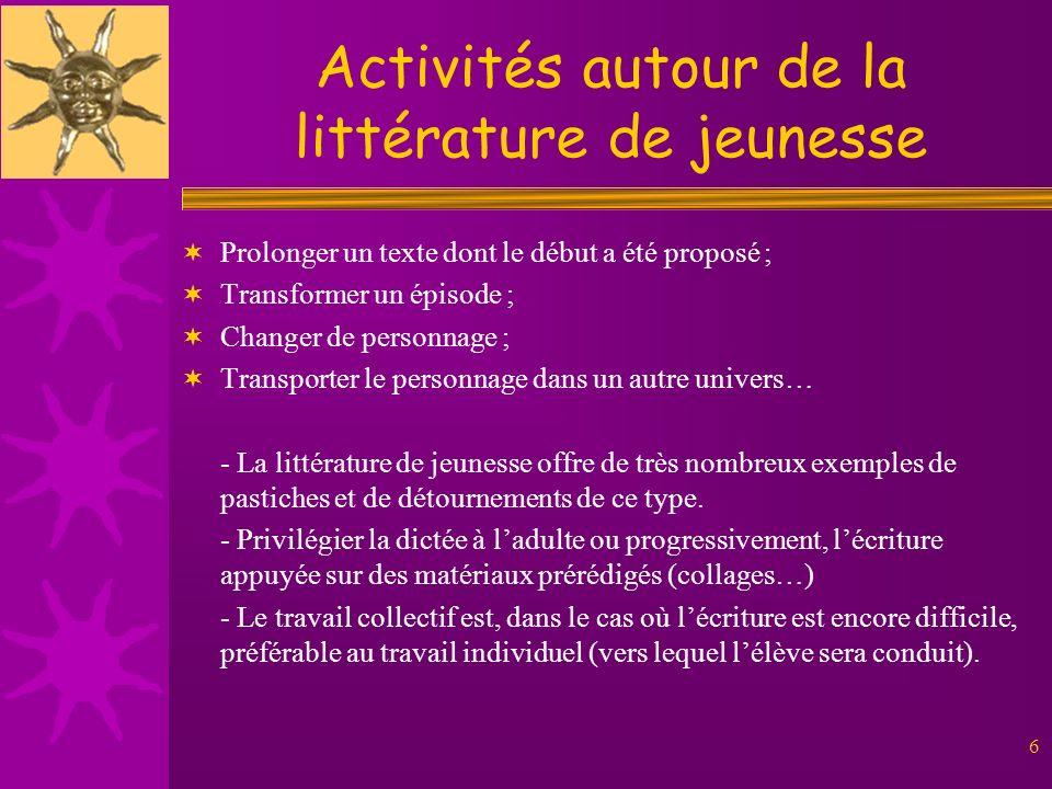 6 Activités autour de la littérature de jeunesse Prolonger un texte dont le début a été proposé ; Transformer un épisode ; Changer de personnage ; Tra