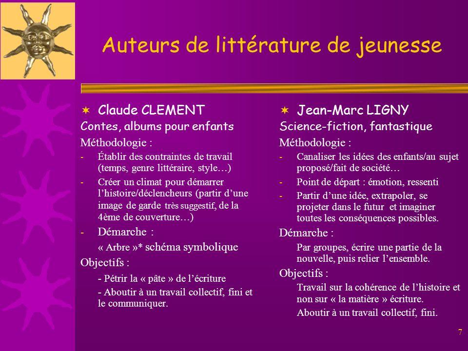 7 Auteurs de littérature de jeunesse Claude CLEMENT Contes, albums pour enfants Méthodologie : - Établir des contraintes de travail (temps, genre litt