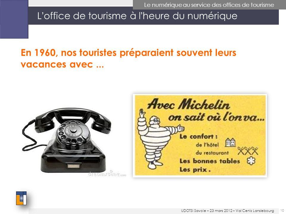 Loffice de tourisme à lheure du numérique 10 Le numérique au service des offices de tourisme En 1960, nos touristes préparaient souvent leurs vacances avec...