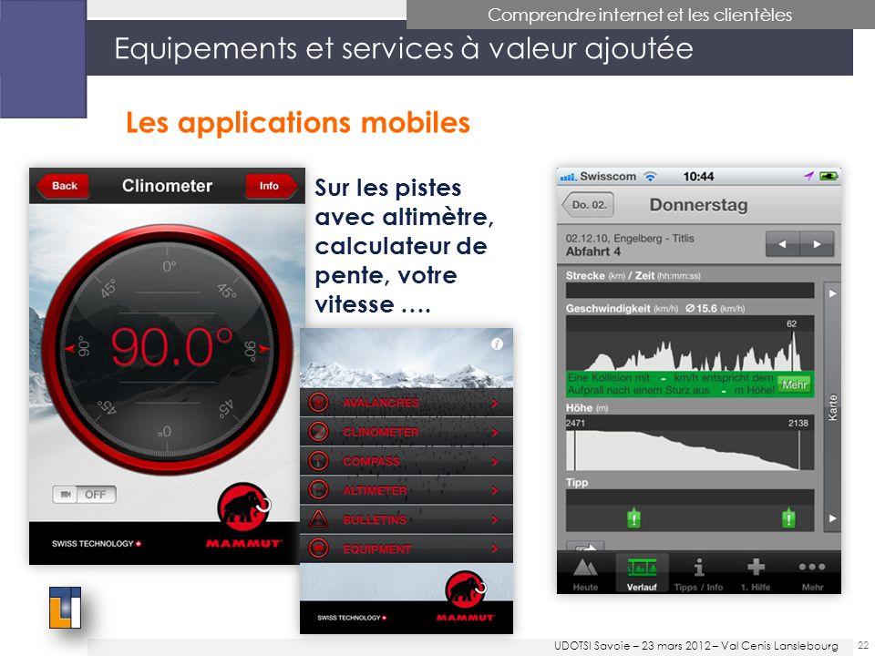 22 Equipements et services à valeur ajoutée Comprendre internet et les clientèles Les applications mobiles Sur les pistes avec altimètre, calculateur de pente, votre vitesse ….