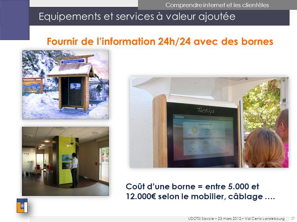 27 Equipements et services à valeur ajoutée Comprendre internet et les clientèles Fournir de linformation 24h/24 avec des bornes Coût dune borne = entre 5.000 et 12.000 selon le mobilier, câblage ….