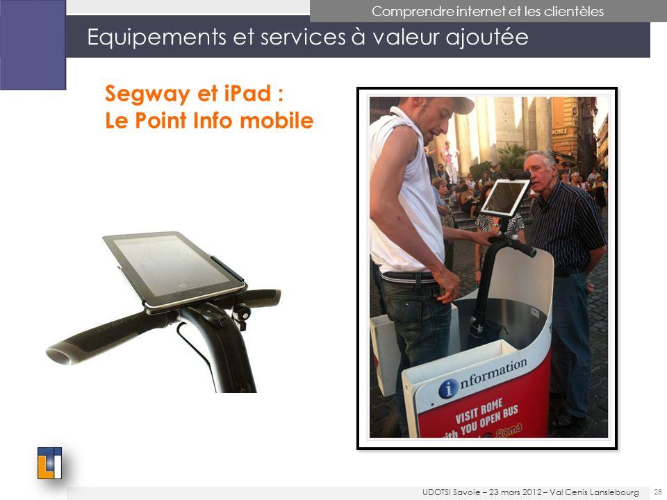 28 Equipements et services à valeur ajoutée Comprendre internet et les clientèles Segway et iPad : Le Point Info mobile UDOTSI Savoie – 23 mars 2012 – Val Cenis Lanslebourg