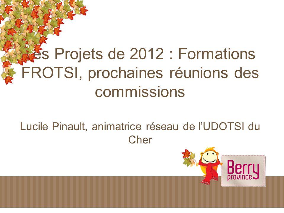 Les Projets de 2012 : Formations FROTSI, prochaines réunions des commissions Lucile Pinault, animatrice réseau de lUDOTSI du Cher