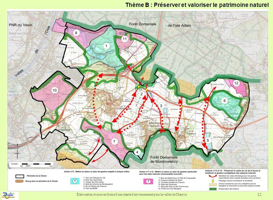 Elaboration et mise en forme d'une charte d'environnement pour la vallée de Chauvry 12 Thème B : Préserver et valoriser le patrimoine naturel