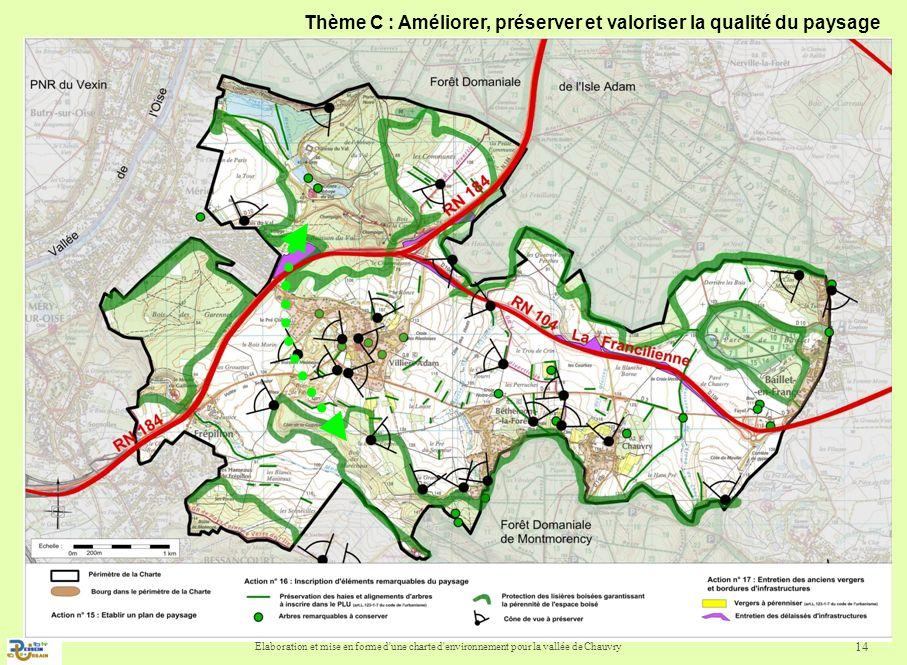 Elaboration et mise en forme d'une charte d'environnement pour la vallée de Chauvry 14 Thème C : Améliorer, préserver et valoriser la qualité du paysa