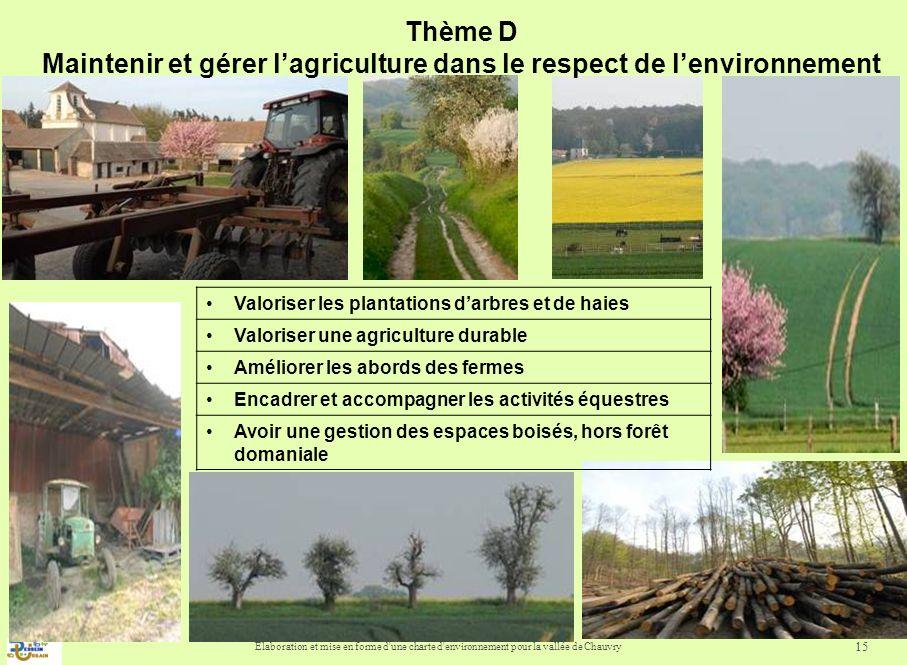Elaboration et mise en forme d une charte d environnement pour la vallée de Chauvry 16 Thème D : Maintenir et gérer lagriculture dans le respect de lenvironnement