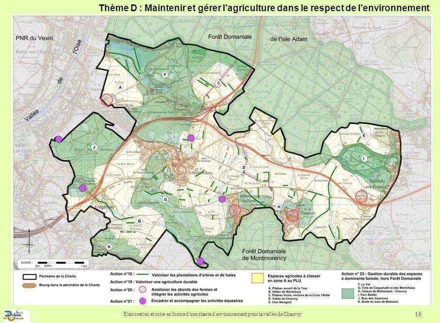 Elaboration et mise en forme d'une charte d'environnement pour la vallée de Chauvry 16 Thème D : Maintenir et gérer lagriculture dans le respect de le